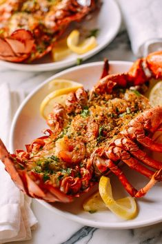 memorable and splashy dishes on the menu. The managers of the Holiday Inn Restaurant, Flo and Herbie Lobster Recipes, Seafood Recipes, Seafood Dishes, Salmon Recipes, Baked Stuffed Lobster, Romantic Meals, Shrimp, Prawn, Postres