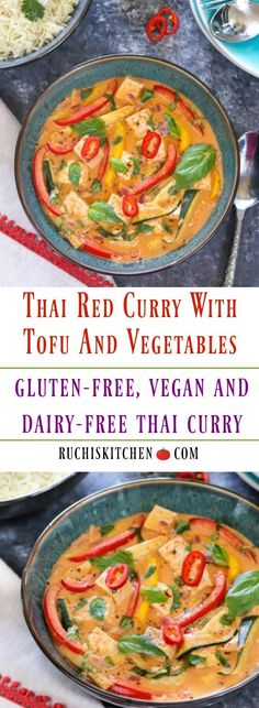 One-pot Vegan Thai Red Curry with Tofu and vegetab. One-pot Vegan Thai Red Curry with Tofu and vegetables is an easy weeknight dinner. This nutritious & comforting dinner comes together in less than 20 . Tofu Red Curry Recipe, Curried Tofu Recipe, Vegan Thai Curry, Thai Curry Recipes, Tofu Curry, Tofu Recipes, Vegan Dinner Recipes, Vegetarian Recipes, Cooking Recipes