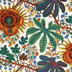 Josef Frank found inspiration for the Hawai print at the Metropolitan Museum of Art. Hawai was designed during 1943 – - Textile Hawai, Linen Hawai, Brown, Josef Frank Josef Frank, Textiles, Fabric Chandelier, Chandelier Creative, Ben Pentreath, Swedish Interiors, Trendy Wallpaper, Printed Linen, Architectural Digest