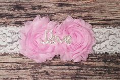 "Beautiful Handmade Baby Girl Headbands! Two Shabby Flowers with Rhinestone ""Love"" center. Custom made just for you! You Choose your Band! Sizing Info Headbands: Preemie - 11-12"" Newborn - 13"" 0-3 mont"