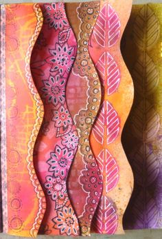 newly creative: art journal fun with Dylusions Journal block (for scallop edge) & Ink Sprays, stamps, stencils, White ink, gel pens ~ fun! all this cool stuff is available at #Stampassion, www.stampassion.com