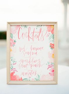 Watercolour cocktail sign | Inspiration Board: Rum Punch | SouthBound Bride | http://www.southboundbride.com/inspiration-board-rum-punch | Credit: Lindsay Madden Photography/Momentus Special Events & More/Julie Song Ink