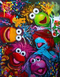 Fraggle rock and muppets painting. Retro Vintage, Fraggle Rock, Aliens Funny, The Muppet Show, Miss Piggy, Kermit The Frog, Jim Henson, Geek Out, Rock Art