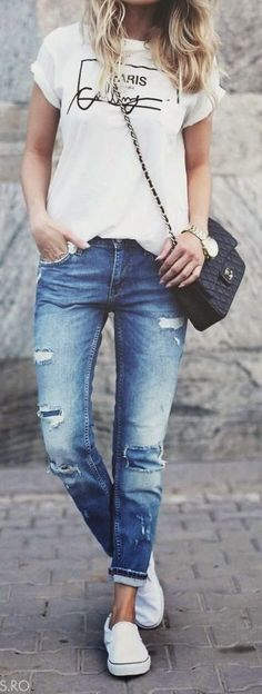 Jeans and plain white t-shirt. My favourite!!!