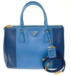 Prada Saffiano Bi-color Double Zip Blue Tote Bag $2,450