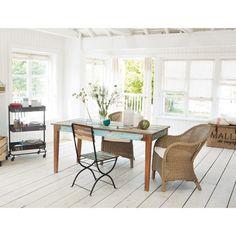 Table de salle à manger en bois recyclé effet vieilli L 160 cm
