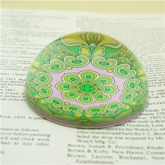 Vintage Glass Paperweights/Unique Paperweight Gifts For Mom This colorful glass paperweights is in a fashion look. The back is finished with a water resistant sealer for durability.