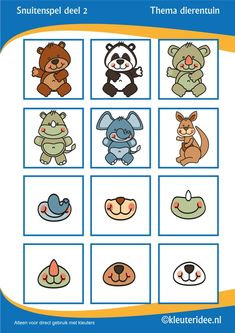 Snuitenspel voor kleuters deel 2, thema dierentuin, juf Petra van Kleuteridee.nl , snout game for preschool, free printable.