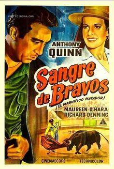 THE MAGNIFICENT MATADOR (1955) - Maureen O'Hara - Anthony Quinn - Written & Directed by Budd Boetticher - 20th Century-Fox - Spanish Movie Poster.