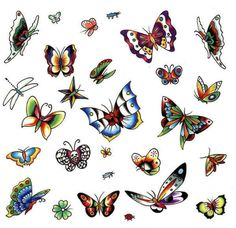 BUTTERFLY FLASH TATTOO | Sheet Of Butterfly Tattoo Designs To Choose From And It Has Just About