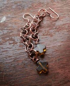 Long Copper earrings with Smokey Quartz  by StarruccasSecret, $12.99