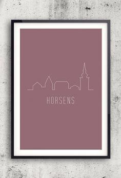 Byplakat - Horsens i rød - 50x70