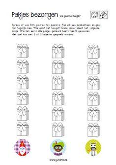 Dobbelspel kleurendobbelsteen. Dobbelen en pakje in dezelfde kleur zoeken. Nodig: kleurendobbelsteen, pakjes in verschillende kleuren