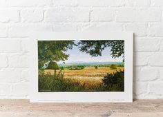 Michael Oxenham signed limited edition #print. 35.00 #Herefordshire #malvernhills #cornfield #farming #art #painting Malvern Hills, Herefordshire, Farming, Polaroid Film, Frame, Prints, Painting, Art, Picture Frame