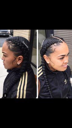 Braids and laid edges by - Black Hair Information Community Two Braid Hairstyles, Pretty Hairstyles, Beautiful Braids, Gorgeous Hair, Girls Braids, 2 Braids, 2 Feed In Braids, Dookie Braids, Curly Hair Styles