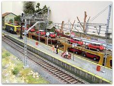 Maqueta española. HO - HOm. Épc. IV - VI. Ferrocarriles de la Península Ibérica.: Maqueta estación con marquesina. Escala H0.