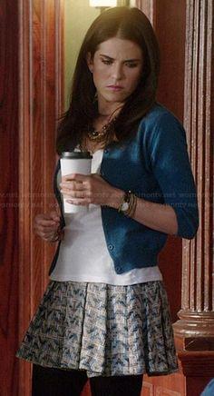 Laurel's zig zag patterned skirt on HTGAWM.  Outfit Details: http://wornontv.net/39896/ #HTGAWM