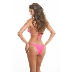 Rio De Sol Women's swimwear Pink Double Strap Brazilian Bikini With... ($45) ❤ liked on Polyvore featuring swimwear, bikinis, hot pink, brazilian bikini swimwear, brazilian cut bikini, triangle bikini, brazilian bikini and triangle bikini top
