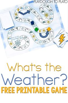 FREE printable weather game! What a fun way to learn the different weather terms with your preschooler or…
