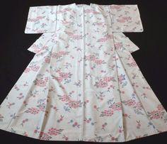 Japanese Vintage Kimono, SILK, Blue, Good condition, Flower P012362    eBay