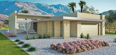The flat roof is common in Palm Springs with an abundance of mid-century homes
