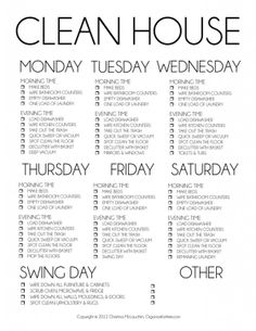 BASIC CLEANING SCHEDULE - WEEKLY!!! Need this