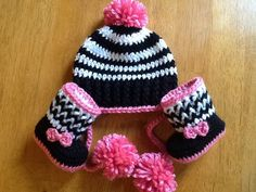 Crocheted zebra stripe boot and hat set by CrochetnCoffeeBeans, $30.00