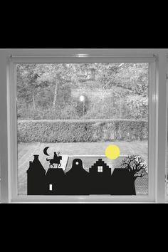 """Raamsticker """"Zie de maan schijnt...."""" Sinterklaas sticker, sticker sinterklaas, met gratis arrenslee voor Kerstmis, dan is het een Kerststicker"""