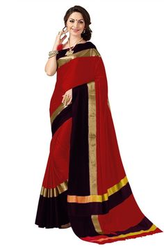 Cotton Silk plain Saree With Blouse Piece Indian Designer Sarees, Latest Designer Sarees, Latest Sarees, Tussar Silk Saree, Art Silk Sarees, Ethnic Sarees, Indian Sarees, Designer Blouse Patterns, Bollywood Fashion