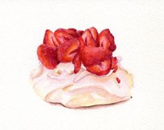 Strawberry Pavlova- ORIGINAL Painting (Dessert Illustration, Still Life, Watercolour Food Wall Art) A5