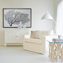 Atelier - Inspiration côtière - Table d'appoint avec dessus en verre et base en branches de teck