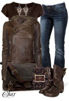 """leather jacket and jeans 1"" by thefarm ❤ liked on Polyvore - love the bag!"
