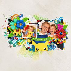 2 photo scrapbook layout, pokemon themed, design is a centered clusted of embellishments and layers