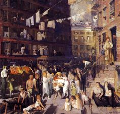George Wesley Bellows, Cliff Dwellers (1913). Courtesy of Los Angeles County Museum of Art.