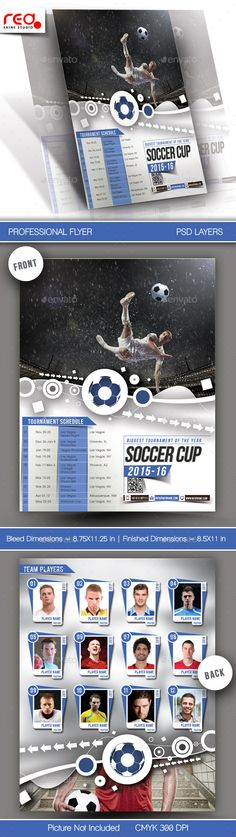 Football Tournament Flyer & Poster Template by redshinestudio SPECIFICATION Menu Card / Flyer Template is 8.5 by 11 in (8.75 in by 11.25 in with bleeds) and is ready for print, because its in