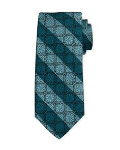 Medallion-Print Silk Estate Tie, Teal (Blue) - Robert Talbott