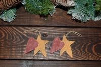 Country Primitive Wooden Star & Heart Xmas Tree Ornaments (Set of 2) - www.elfmade.co.uk Christmas Decorations Xmas Tree Decorations Letters From Santa Vintage Christmas