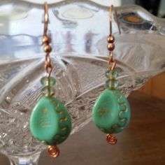 Classic earrings with an Artisan copper back and ear wires. Lovely and simple. Turquoise and copper.