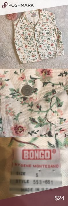 Shabby chic vintage cropped denim bongo vest Take it back to the 90's in this vintage floral bongo cropped denim vest .... layer it or wear alone either way ur gonna late this vintage lovely ..... mint condition , no holes , discolorations , or issues BONGO Jackets & Coats Vests