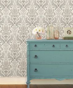 Another great find on #zulily! Gray Nouveau Damask Peel & Stick Wallpaper by WallPops! #zulilyfinds