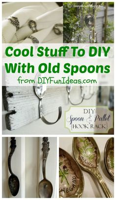 COOL STUFF TO DIY WITH OLD SPOONS — and a few forks too! .................Plus, tons more fun DIYs at DIYFUNIDEAS.COM .........Most popular pins! #Spoons