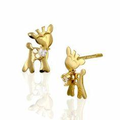 14kt Yellow /& Rose Gold Madi K CZ Childrens Reindeer Post Earrings