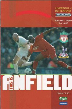 Liverpool 2 Tottenham 1 in Oct 2002 at Anfield. Programme cover #Prem