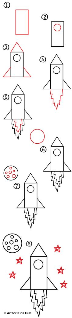 Learn how to draw a rocket, for young artists! drawings summer How To Draw A Rocket (Young Artists) - Art For Kids Hub - Art Drawings For Kids, Easy Drawings, Basic Drawing For Kids, Drawing Lessons, Art Lessons, Drawing Art, Drawing Poses, Drawing Techniques, Drawing Ideas