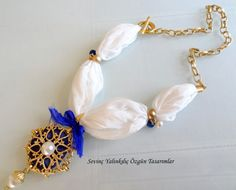 Cobalt blue goldplated pendant white raw silk by sevinchjewelry, $42.00