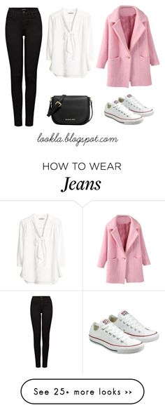 """""""Black jeans VIII"""" by laurasanda on Polyvore featuring J Brand, H&M, Converse and MICHAEL Michael Kors"""