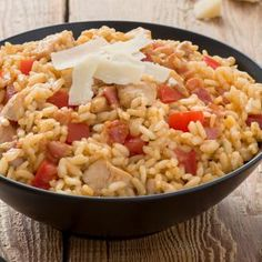 Baked Chicken & Risotto - with Campbell soup Chicken Risotto, Baked Chicken, Chicken Recipes, Campbells Recipes, Fast Easy Dinner, Risotto Recipes, Cooking Recipes, Healthy Recipes, Soups And Stews