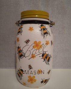 Mason Jar covered with bees.