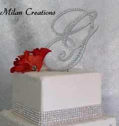 Brush Metal Partial Crystal Cake Topper by MilanCreations on Etsy, $55.00