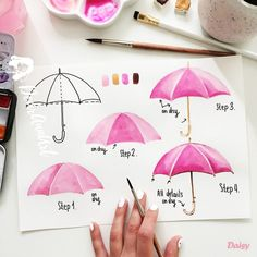 - Umbrella - Hi ☺️💕 So, today is a new challenge day. Let's paint an umbrella ☂️. Hi ☺️💕 So, today is a new c. Watercolor Paintings For Beginners, Watercolour Tutorials, Watercolor Drawing, Watercolor Techniques, Painting & Drawing, Painting Process, Pink Painting, Beautiful Drawings, Learn To Paint